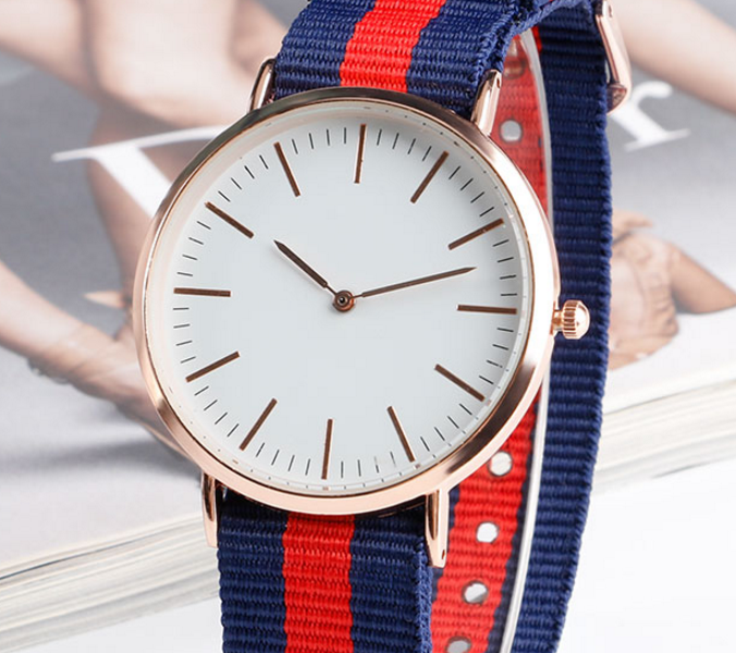 Women Military Sport Nylon Stripe Band Wristwatch!!!