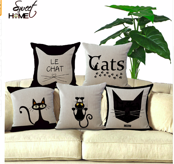 Cute Cat Printed Decorative Soft Sofa Cushion Pillow