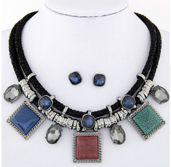 Crystal Resin Collares Square Necklaces & Earrings Set-Offer!!!