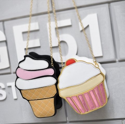 Leather Cake Ice Cream, Cute 3d Laser Diamond Pu Leather Bag-Offer