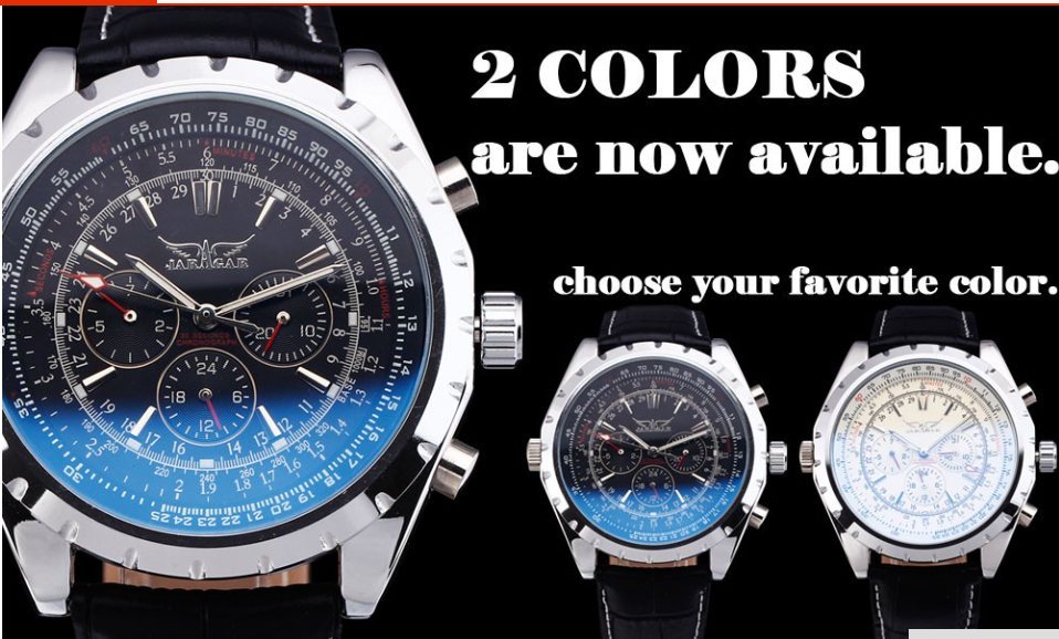 Business Mechanical Skeleton Military JARAGAR Wrist Watches!