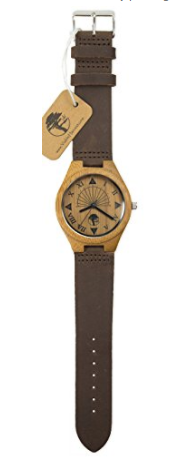Wood Unique Sundial Design, Natural Bamboo Genuine Leather Watch!