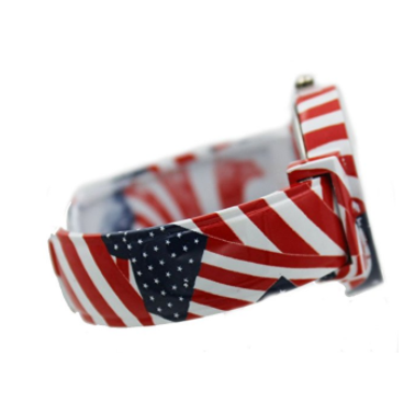 USA Flag Printed Stretch Band Watch with Crystal Bezel!