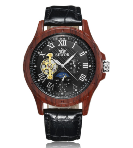 Classic Wood Colours  Men Skeleton Mechanical Leather Luxury Military Wristwatch!