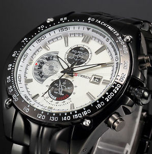 Mens Stainless Steel Sport Quartz Analog Date Hours Wristwatch