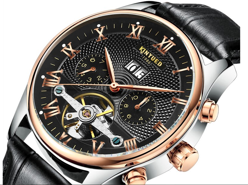 Tourbillon Mechanical Rose Gold Leather Watches!
