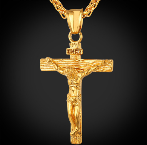 Cross INRI Crucifix Jesus Pendant & Necklace Gold Color Stainless Steel Chain-Offer!