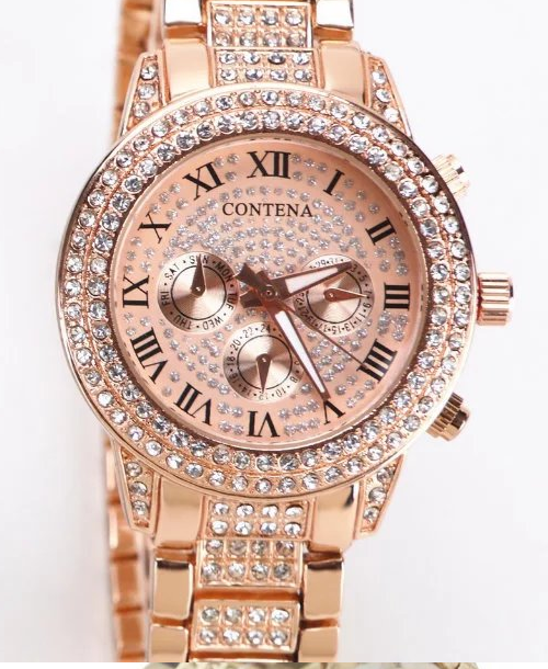 Famous Designer Golden Silver Rose Gold Rhinestone Full Diamonds Ladies Watches-Offer