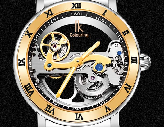 Automatic Mechanical Luxury Stainless Steel Watch Skeleton Transparent Sport WristWatch