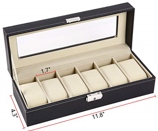 Watch Box 5 or 6 slots Glass Top Organizer-giveaway!