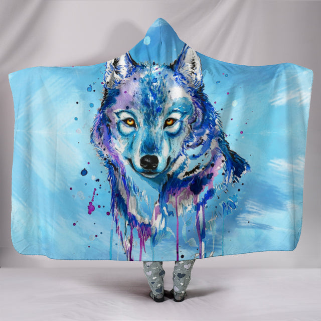 Watercolour Wolf Plush Hooded Blanket