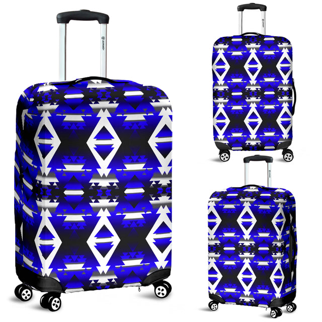 Winter Camp Blue Luggage Cover
