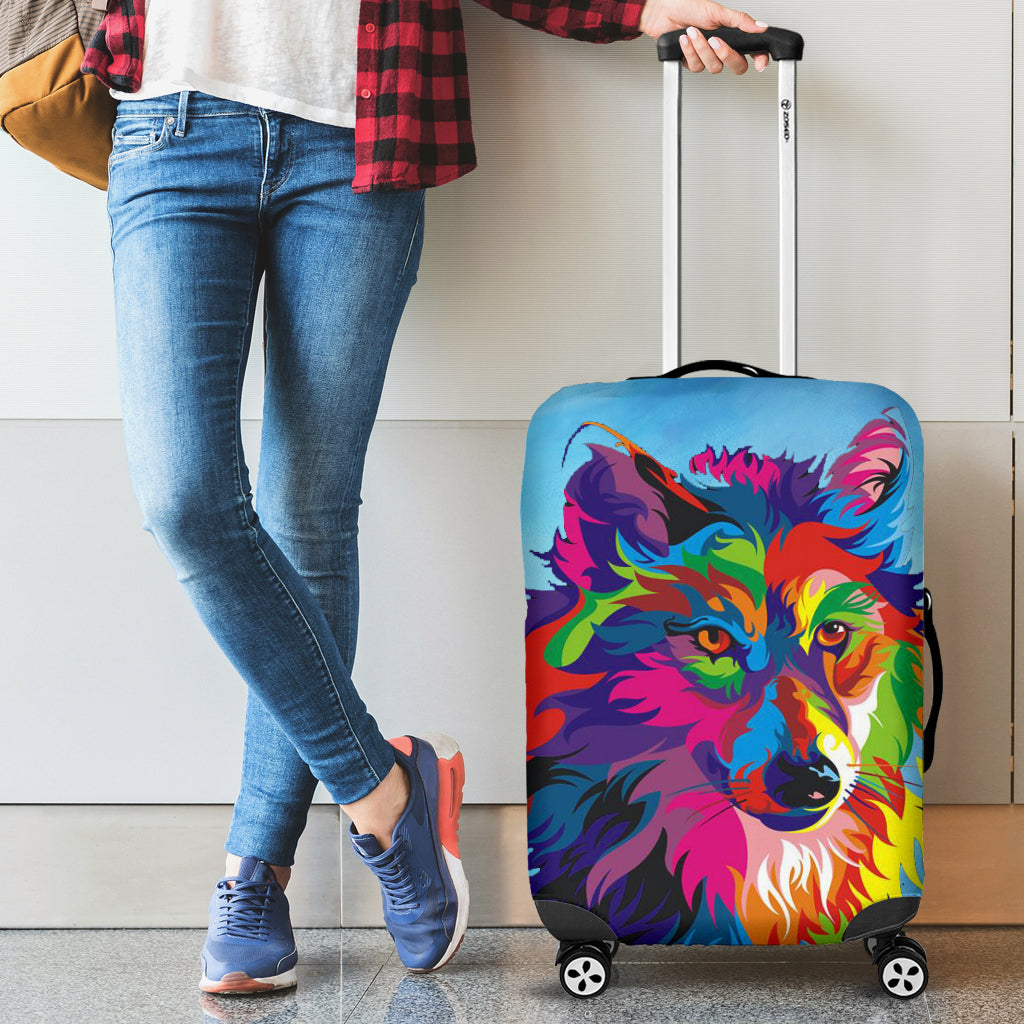 Painted Wolf Protective Suitcase Cover