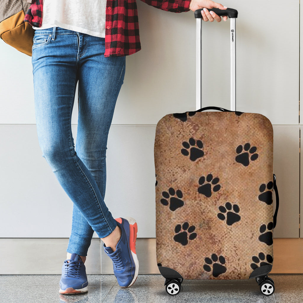 Luggage Cover ~ Brown Paw Print
