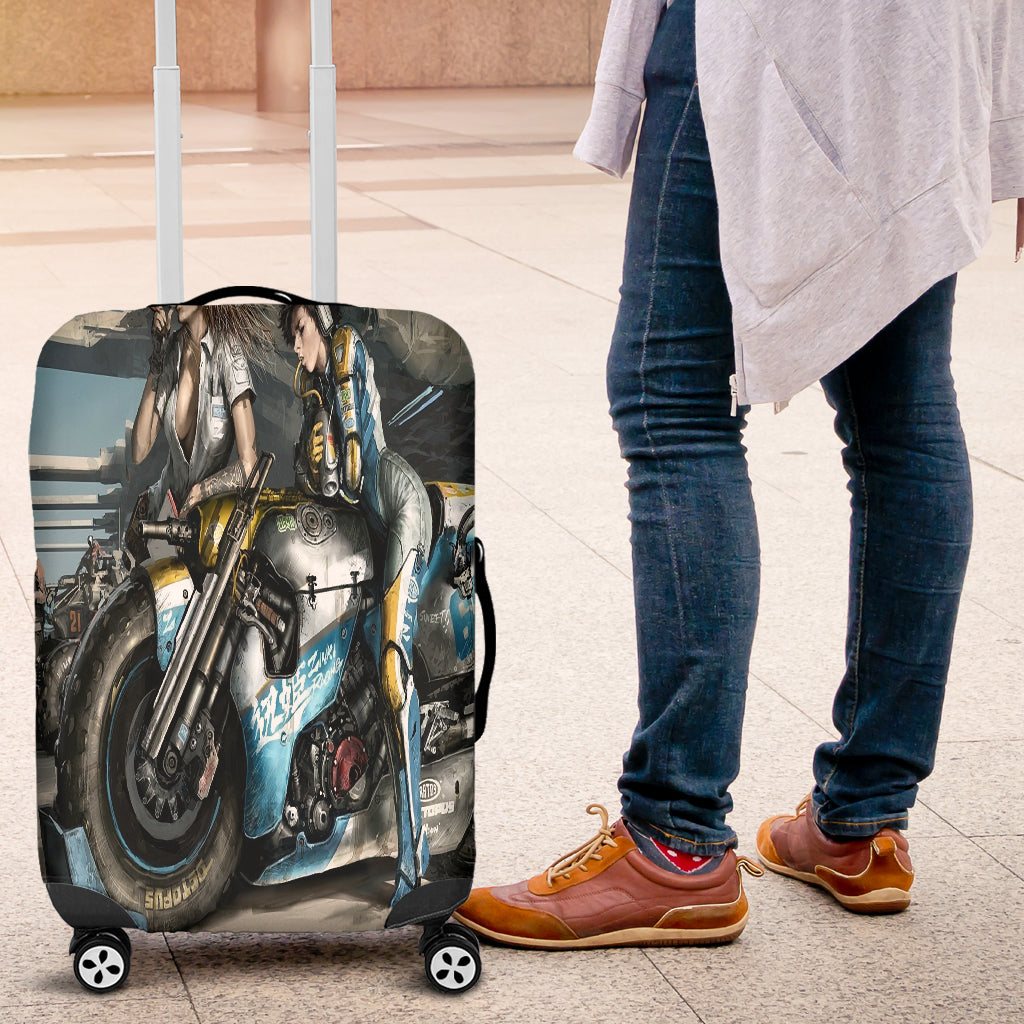 Fantasy Bike Girl Luggage Cover