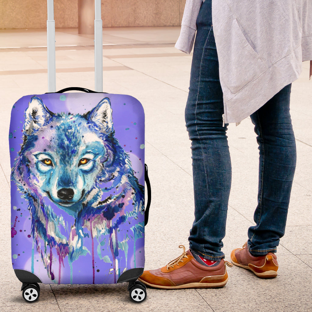 Watercolor Wolf Luggage Protective Cover