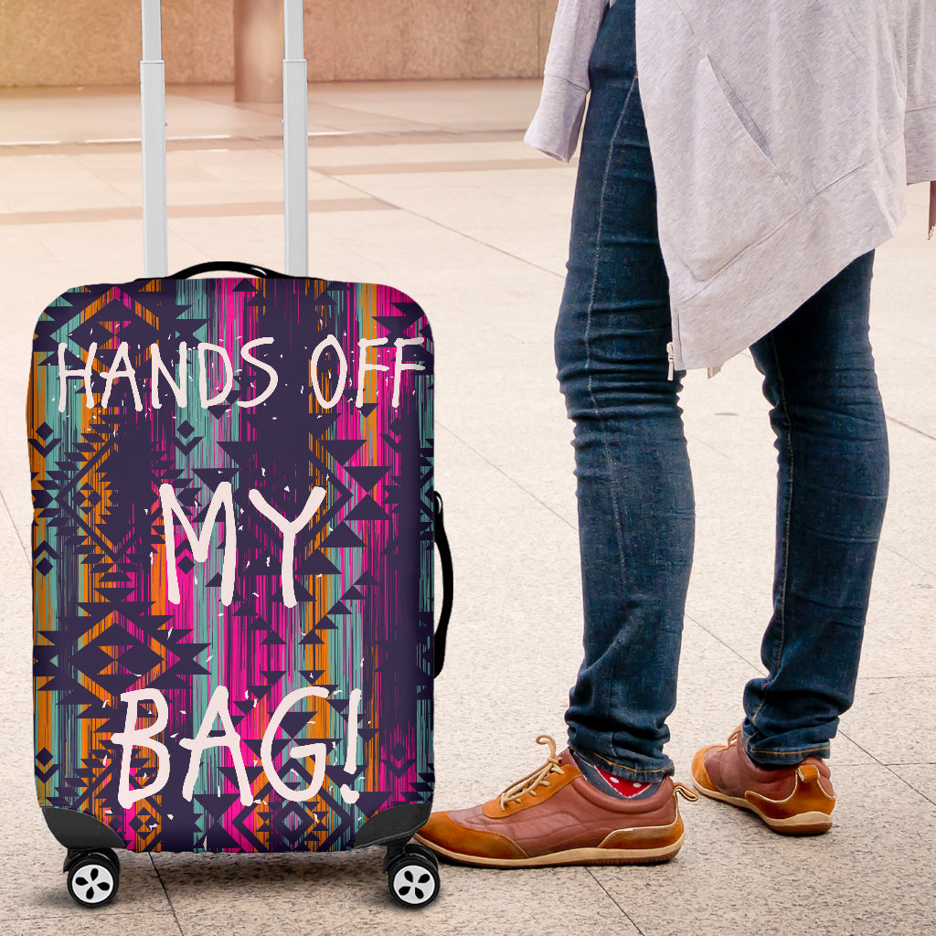 Hands Off Luggage Cover Aztec Pattern