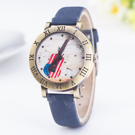 Fashion Lady Leather Mens American Flag Guitar Music Rome Style Quartz Wristwatch!