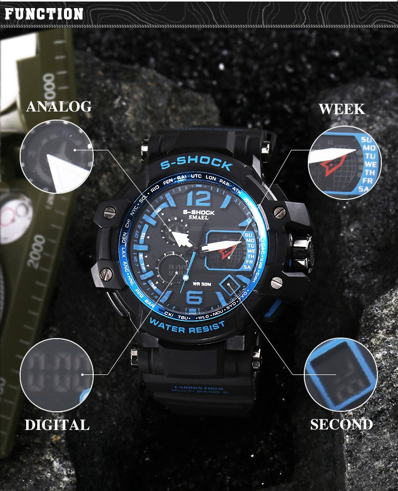 Digital Analog Unisex LED Electronic Day Dive Navy Army S-Shock Sport Watch