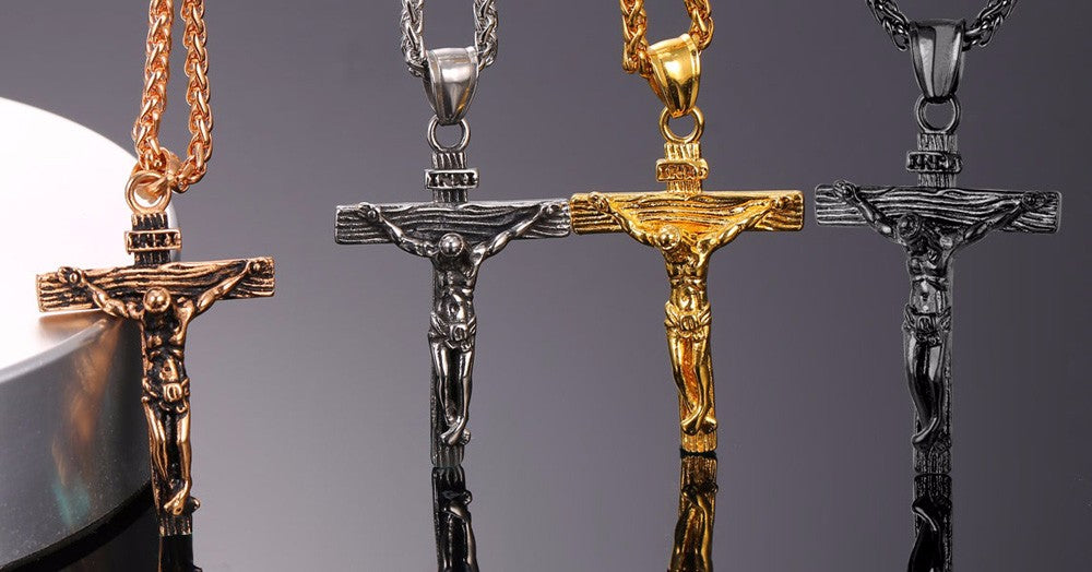 Cross INRI Crucifix Jesus Pendant & Necklace Gold Color Stainless Steel Chain!