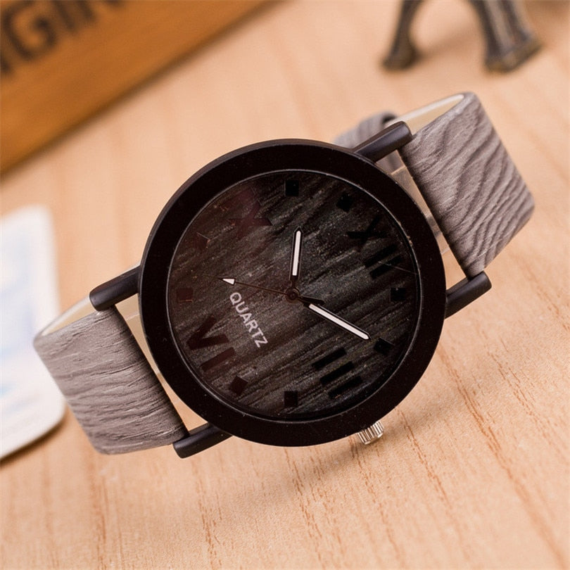 Durable Wood Leather Band Wristwatches!