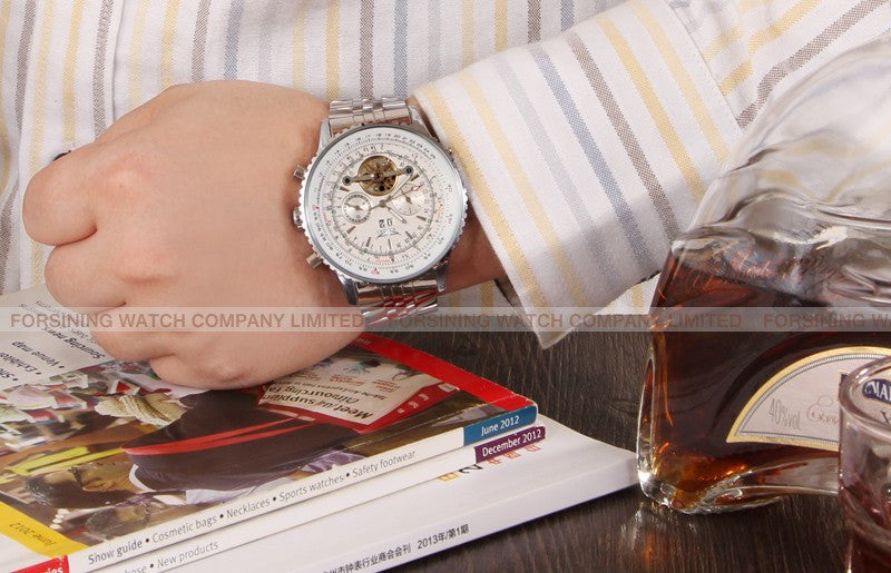 Automatic Mechanical Tourbillion Brass Band Watch!