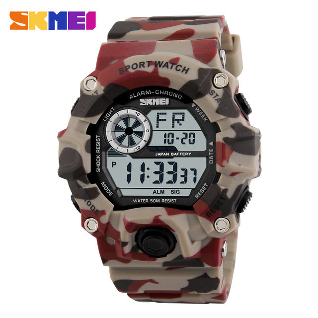 Fashion Camo Digital Chronograph Army Green 50M Waterproof Wristwatch!