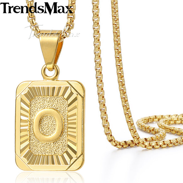 Gold Filled Initial Capital Letter Unisex Charm Pendant Necklace!
