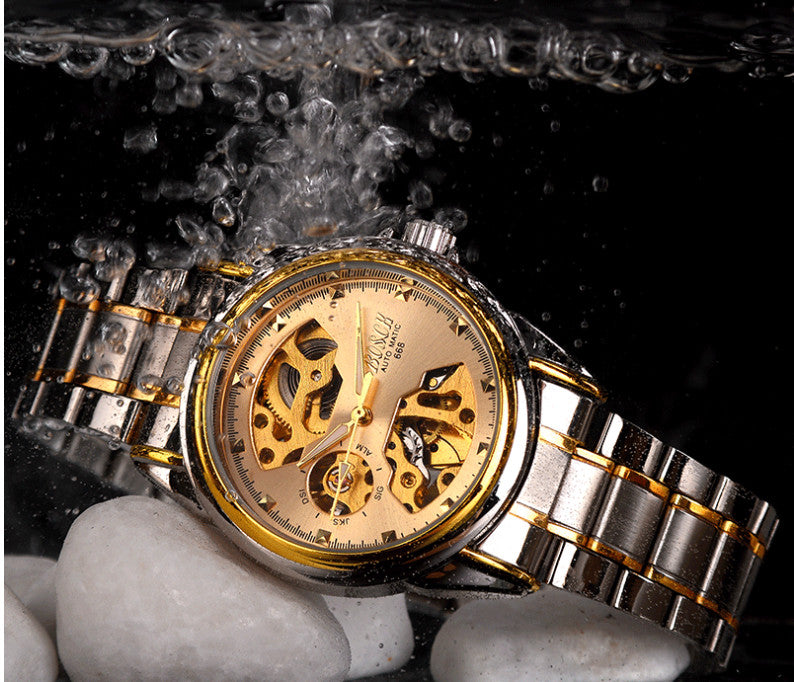 latest automatic mechanical waterproof, Skeleton stainless steel watch!