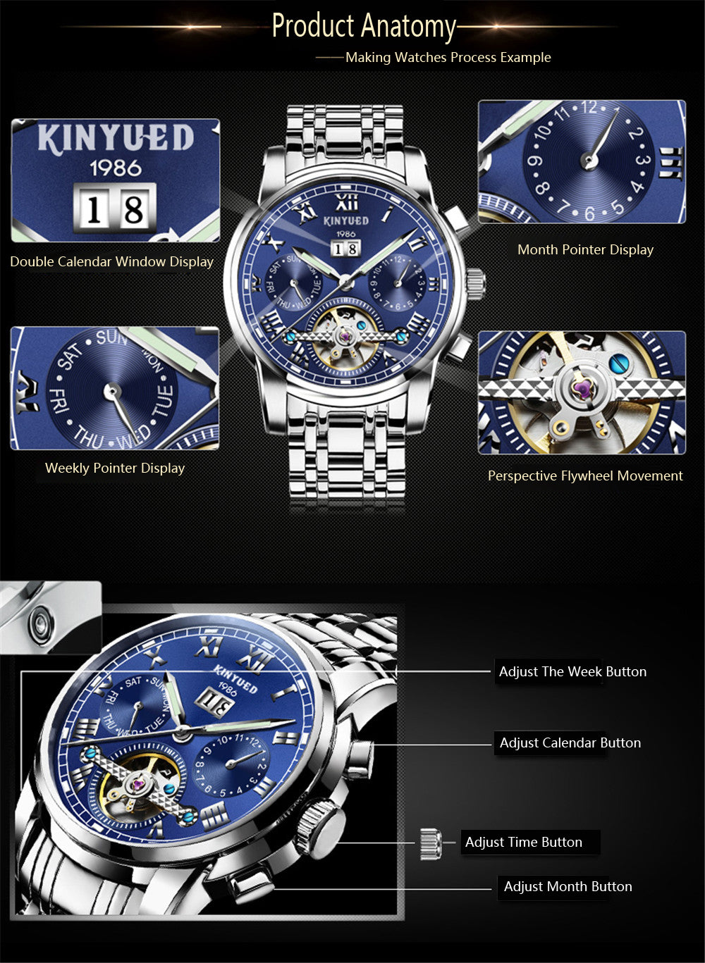 Top Brand Luxury Business Automatic Mechanical Waterproof Wristwatch!