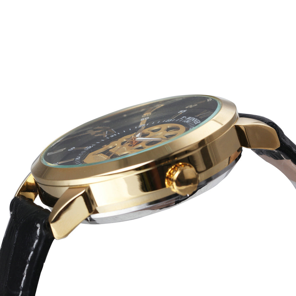 Latest Cool Skeleton Mechanical Genuine Leather Golden Skull Wristwatch!