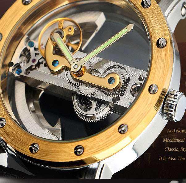 Brand NEW Transparent Automatic Mechanical Leather Watch