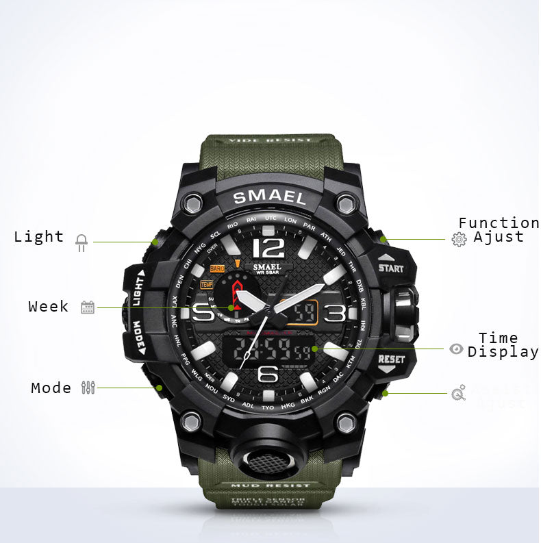 Big Dial Digital Military Army Waterproof LED Watches-11 Fav Colors