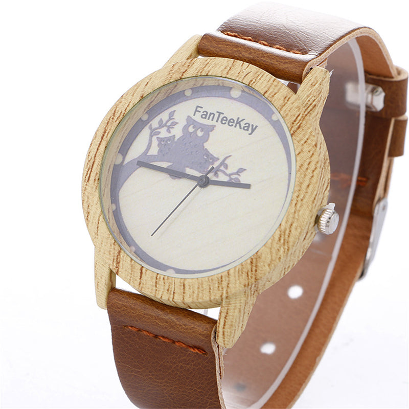 Owl Family Branch Pattern Wooden Bamboo Woman Watch Giveaway!