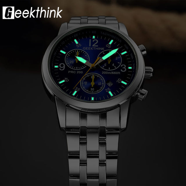 2018 Fashion Classic Male Stainless steel Luxury Waterproof Wristwatch!