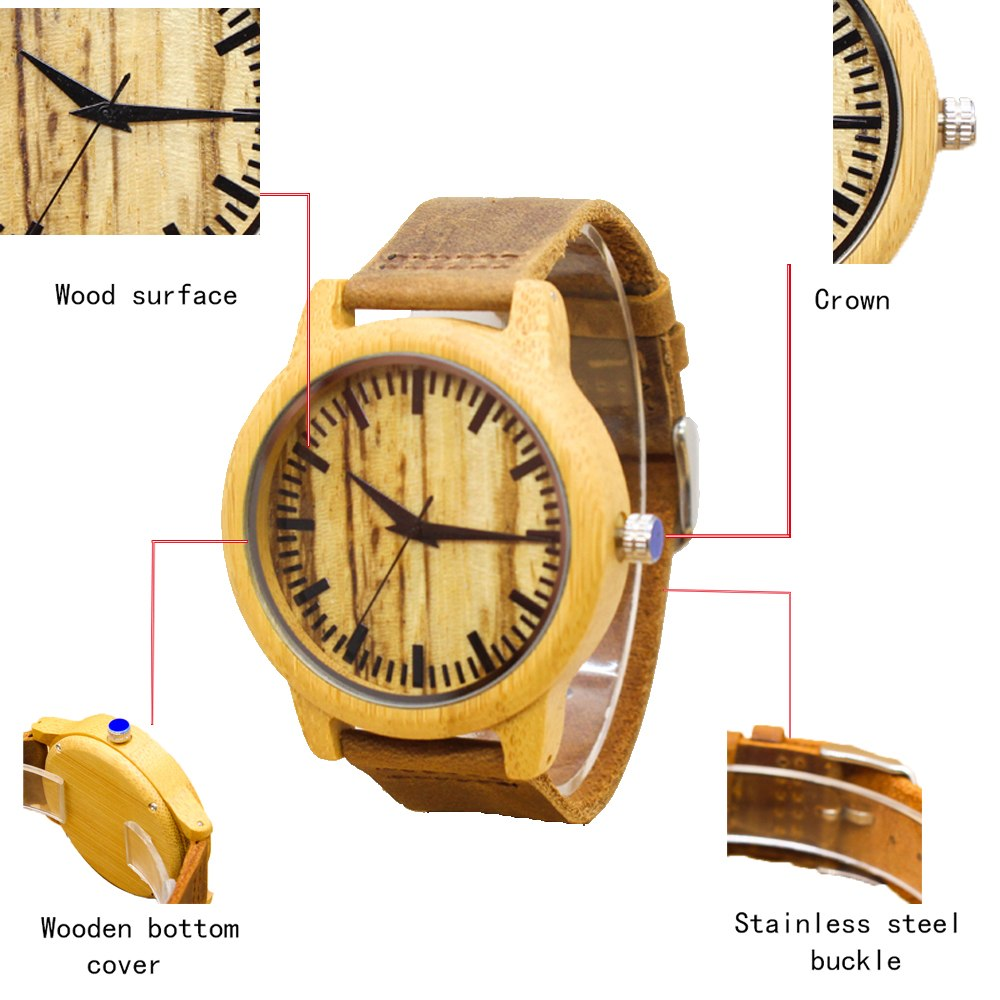 2018 Environmental Protection Horse Leather Strap Wood Watch!