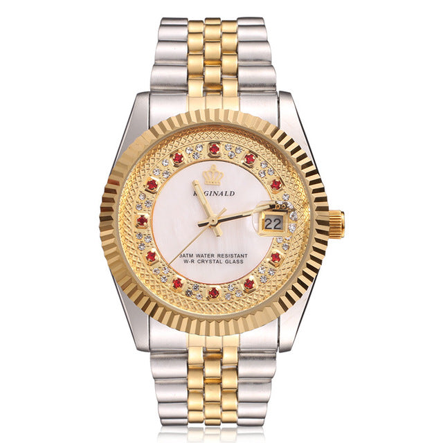 18k Yellow Gold Pearl Diamond Dial Stainless Steel Luminous Watch!