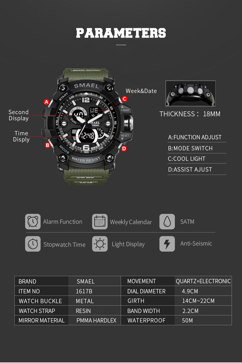 Gold Big Dial Military Sports Waterproof 50M Watches-Giveaway