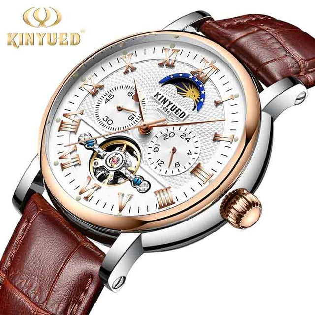 Moon Phase Automatic Mechanical Waterproof Skeleton Tourbillon Watches