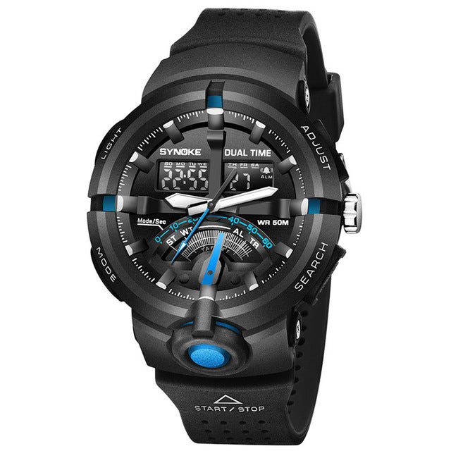 Sports Military  50M Waterproof LED Electronic Dual Display Swimming Watch!