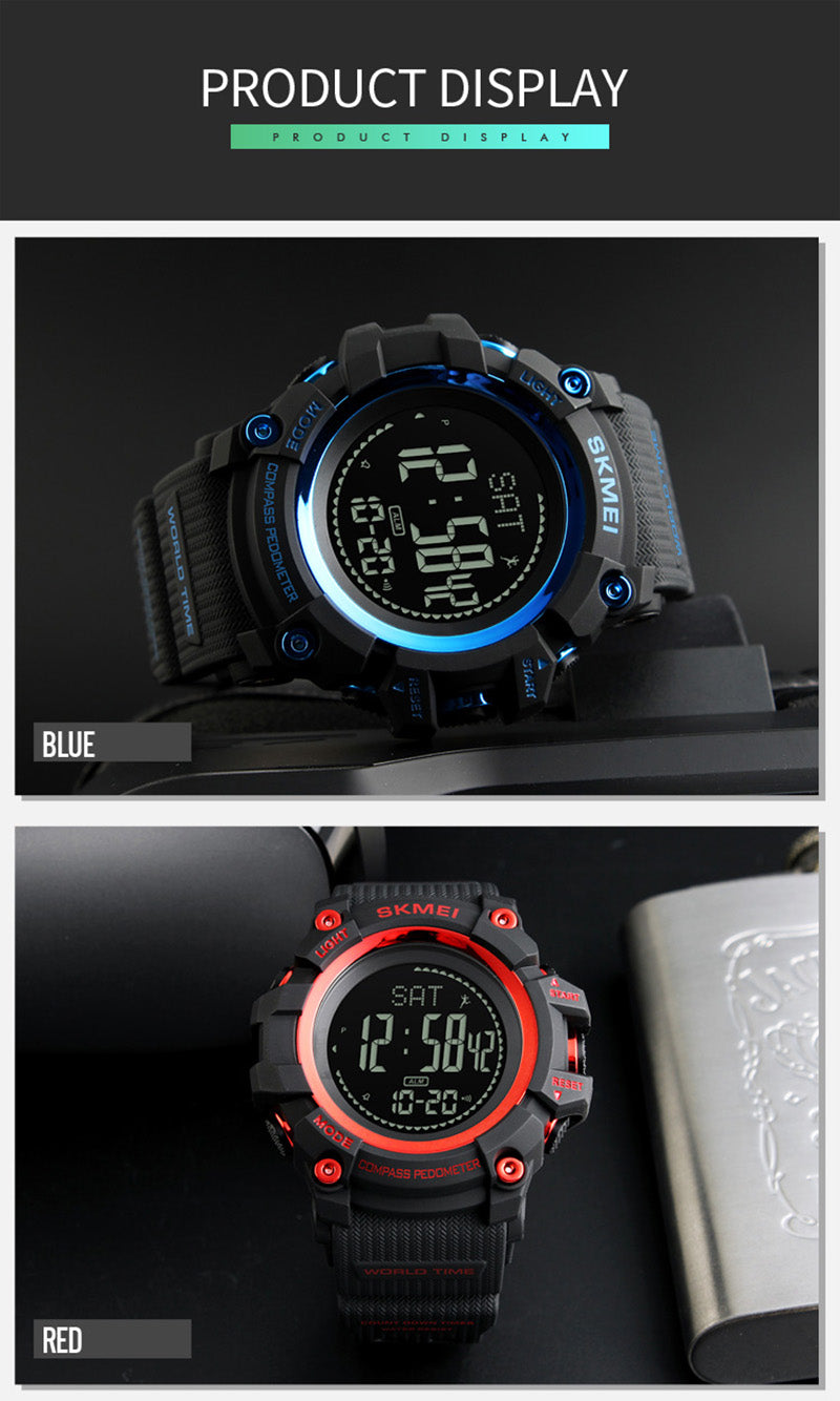 Sports Countdown Pressure Compass Alarm Chrono Waterproof Digital Wristwatches