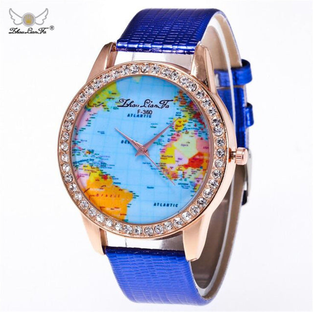 World Map Diamond Dial Crocodile Leather Ladies Luxury Quartz Watch-Offer