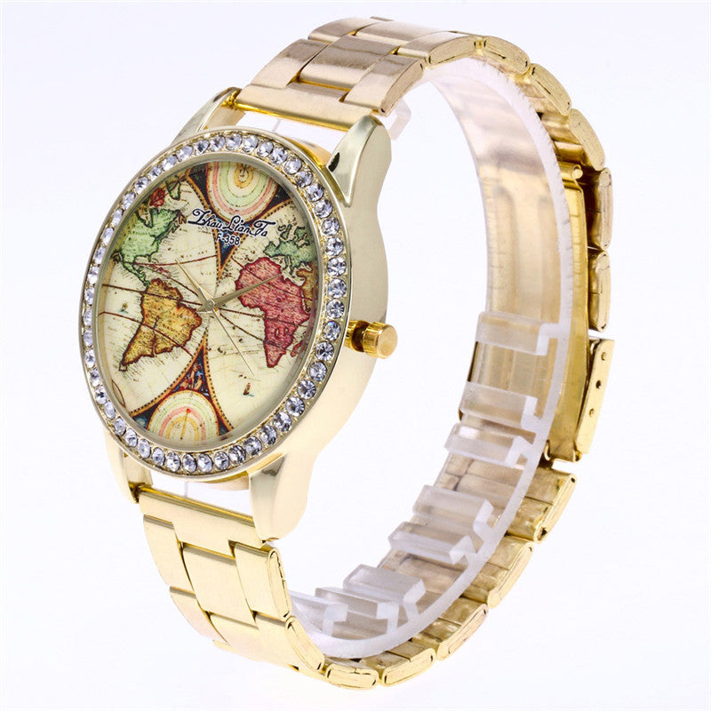 Geneva World Map Gold Diamonds Dial Ladies Luxury Business Watch