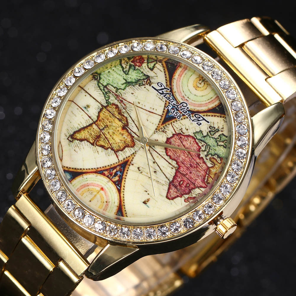 Geneva World Map Gold Diamonds Dial Ladies Business Watch-Offer