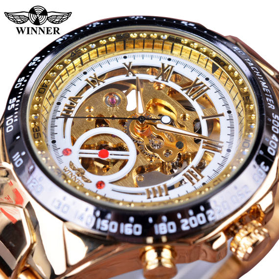 Top Brand Sports Design Bezel Golden Luxury Skeleton Watch!