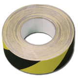 50 mm x 18.3 meter, sort og gul anti slip tape fra Real Safety i DK