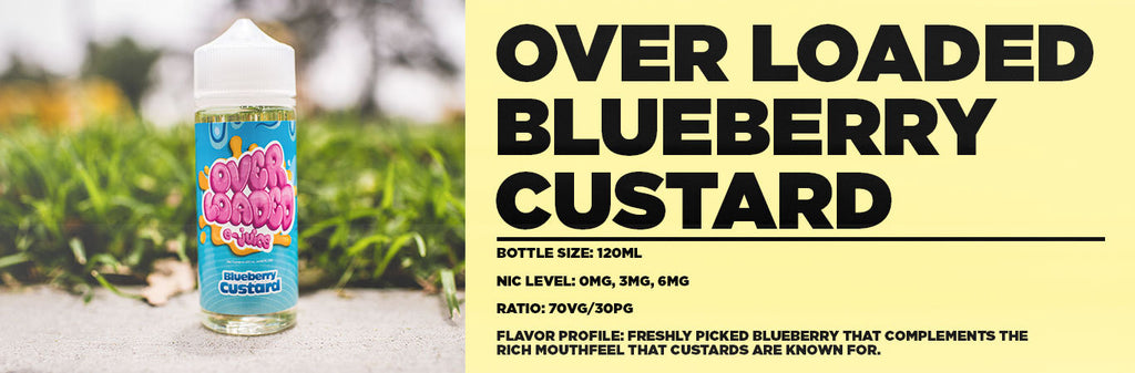 Overloaded Blueberry Custard Flavor Profile Banner at E-Juice Plug