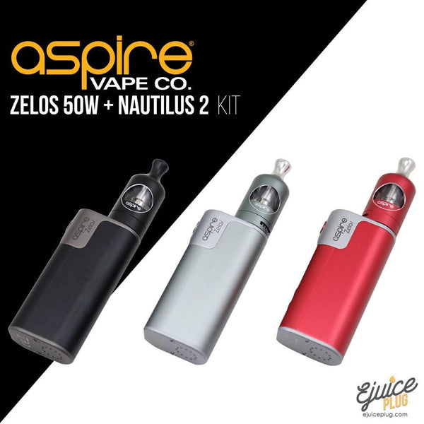 Aspire,- Aspire Zelos 50W Starter Kit (Nautilus 2 Tank and Zelos 50W Box Mod) - E-Juice Plug