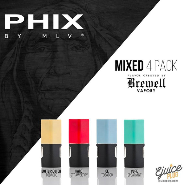 Phix By MLV,- PHIX By MLV Flavor Created by Brewell Vapory 4 Pack PHIX Pods - E-Juice Plug