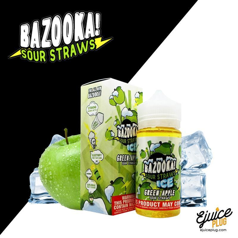 Bazooka Sour Straws,- Green Apple Sour Straws Iced E-Juice by Bazooka - E-Juice Plug